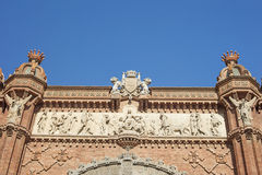 Detail of Arch of Triumph monument located in Barcelona, Catalon. Ia, Spain, on a sunny day Stock Photography
