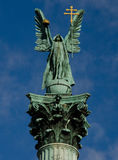 Archangel Gabriel statue. Detail of the Archangel Gabriel statue on top of the 40 metres high column in Heroes' Square, Budapest Royalty Free Stock Image