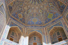 Detail of the arches of Tilla-Kari stock photos