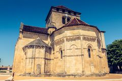 Detail of architecture of the church Saint Martin in Montagne a Stock Images