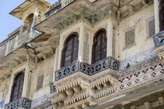 Detail of architecture, decorated facade in Udaipur, Rajasthan, India. Close up stock image