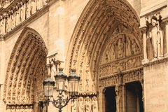 Detail of the architecture of Notre-Dame Cathedral Stock Images