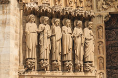 Detail of the architecture of Notre-Dame Cathedral Stock Photo