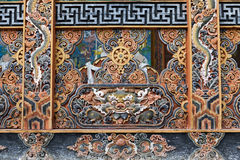 Detail architecture of the wood craft in Bhutan Royalty Free Stock Photos