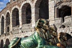Detail of arena of Verona, Italy. During  preparation of representation Stock Photos
