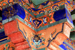 The detail art in a Chinese Tibetan architecture, with traditional pattern Royalty Free Stock Images