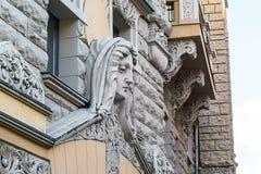 Detail of art nouveau building in Riga, Latvia Stock Photos