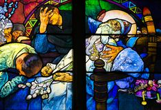 St. Vitus Cathedral, Prague castle, Czech Republic - Death of St. Methodius. Detail of art nouveau stained glass window by Alfons Mucha, St. Vitus Cathedral Stock Photo