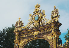 Detail of artfully wrought iron fencing in Place Stanislas, Nancy. Place Stanislas with artfully wrought iron fencing in Nancy, France Stock Image