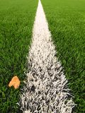 Detail of artificial grass field on football playground. Detail of a line in a soccer field, yellow birch leaf. Plastic gras Stock Photos