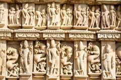 Detail of artwork at the Khajuraho temple Royalty Free Stock Image