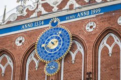 Detail of astronomical clock on the House of Blackheads, Riga, L Royalty Free Stock Photos