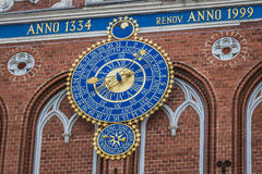 Detail of astronomical clock on the House of Blackheads, Riga, L Stock Image