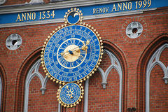 Detail of astronomical clock on the House of Blackheads, Riga, Latvia Royalty Free Stock Photos