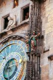 Pragues` clock. Detail of astronomical clock, in the old square of Prague, Czech Republic Royalty Free Stock Images
