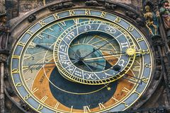 Detail of the astronomical clock in the Old Town Square in Prague, Czech Republic. Toned image Stock Image