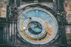 Detail of the astronomical clock in the Old Town Square in Prague, Czech Republic. Toned image.  Stock Image
