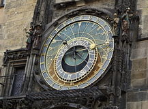 Detail of the astronomical clock (Orloj) underneath the Prague Town hall in Czech Republic on the Old Times Square Royalty Free Stock Photo