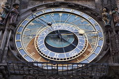 Detail of the astronomical clock (Orloj) underneath the Prague Town hall in Czech Republic on the Old Times Square Stock Image