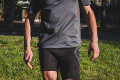 Detail of an athlete getting ready for running Stock Image