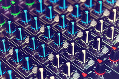 Detail of an audio mixer Stock Photography