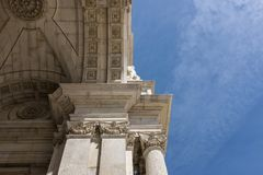 Detail of the Augusta Street Triumphal Arch in the city of Lisbon. Portugal Royalty Free Stock Image