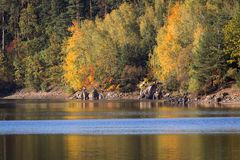 Detail of autumn coloful trees with water, dam Rimov, Czech land. Scape royalty free stock photos