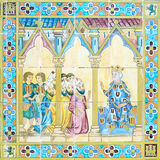 Detail of azulejo in Plaza de Espana, Sevilla Stock Photos