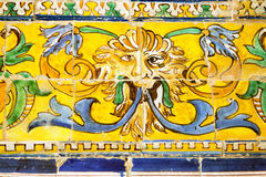 Detail of azulejos in Reales Alcazares, Sevilla Stock Photo