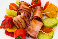 Detail of a bacon skewers Stock Photos