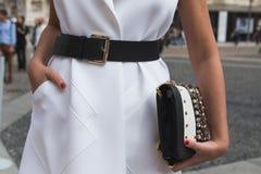 Detail of bag at Milan Fashion Week Stock Image