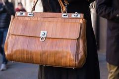 Detail of bag at Milan Men`s Fashion Week Stock Photos