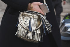 Detail of bag outside Gucci fashion show building for Milan Women Fashion Week Royalty Free Stock Images