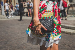Detail of bag outside Missoni fashion show building for Milan Me Stock Images
