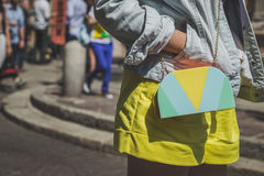 Detail of bag outside Missoni fashion show building for Milan Me Stock Photo