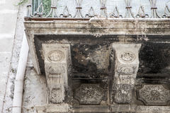 Detail of Balconies in Syracuse. Balconies typical of the old, narrow and dirty streets in Syracuse in Sicily Stock Photo