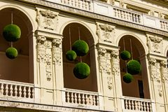 Detail of a balcony with floral designs. Budapest, Hungary stock image
