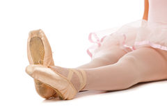 Detail of ballet dancer's feet Royalty Free Stock Images