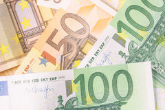 Detail of banknotes of the European Union as a background Royalty Free Stock Photo