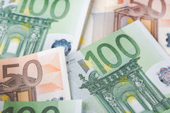 Detail of banknotes of the European Union as a background with selective focus Royalty Free Stock Photos