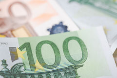 Detail of banknotes of the European Union as a background with selective focus Stock Photo