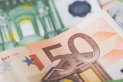 Detail of banknotes of the European Union as a background with selective focus Royalty Free Stock Image