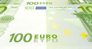 Banknotes of one hundred euros on print rolling on screen, cash money, loop. Detail of banknotes of one hundred euros passing on screen, cash money, loop stock illustration