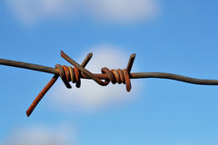Detail of barbed wire against a sky Stock Photo