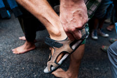 Detail of bare feet during bare foot march in favour of refugees in rome. People march asking for hospitality for refugees in italy Stock Images