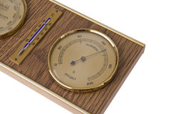 Detail of barometer with thermometer Royalty Free Stock Images