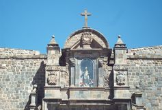 Detail of baroque architecture in church of Cuzco. Peru Royalty Free Stock Photography