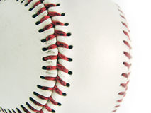 Detail of baseball ball. Isolated on white background stock image