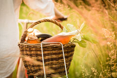 Detail of the basket with fresh food Royalty Free Stock Photo