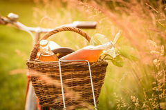 Detail of the basket with fresh food Stock Photo